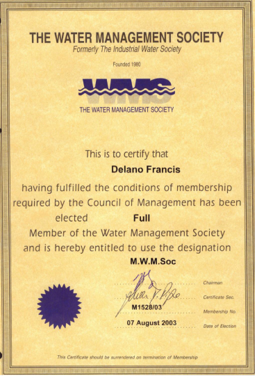 Water Management Society Membership certificate